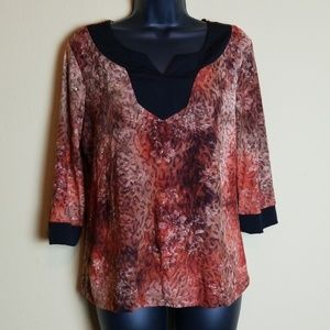 Brittany Black Cheetah and Floral Print Top